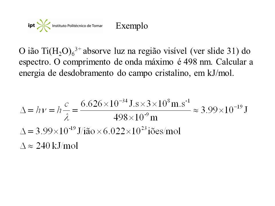 Exemplo O ião Ti(H 2 O) 6 3+ absorve luz na região visível (ver slide 31) do espectro. O comprimento de onda máximo é 498 nm. Calcular a energia de de
