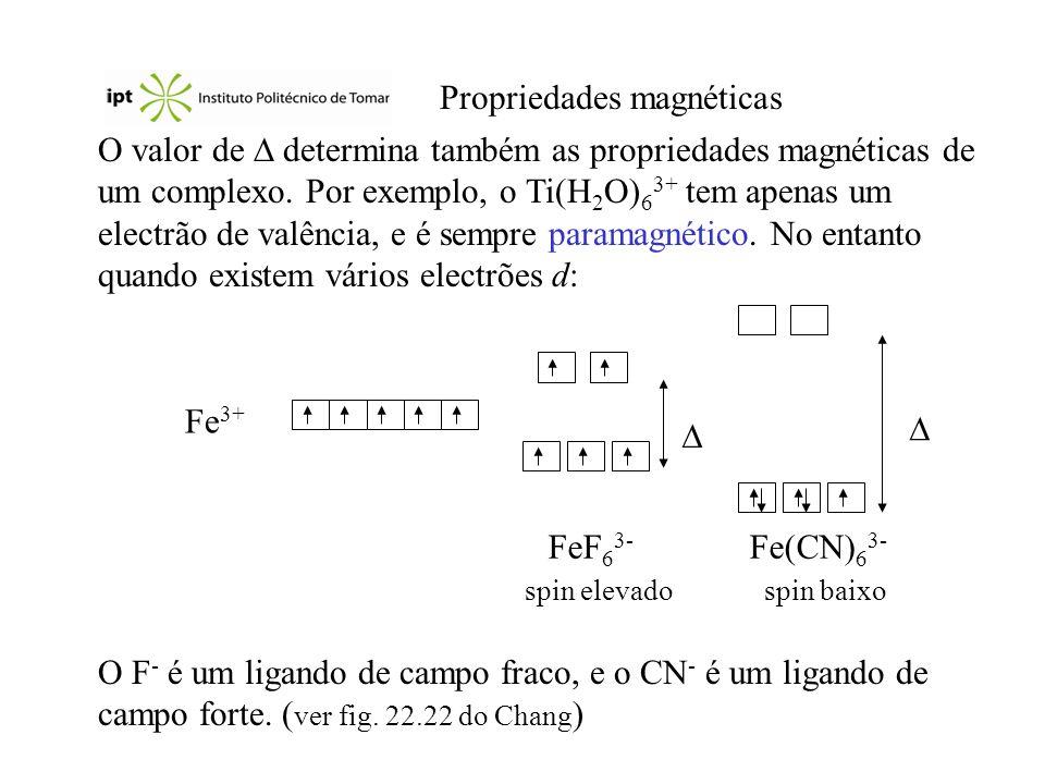 Propriedades magnéticas O valor de determina também as propriedades magnéticas de um complexo. Por exemplo, o Ti(H 2 O) 6 3+ tem apenas um electrão de