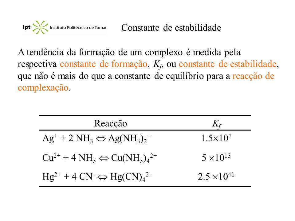 Constante de estabilidade A tendência da formação de um complexo é medida pela respectiva constante de formação, K f, ou constante de estabilidade, qu