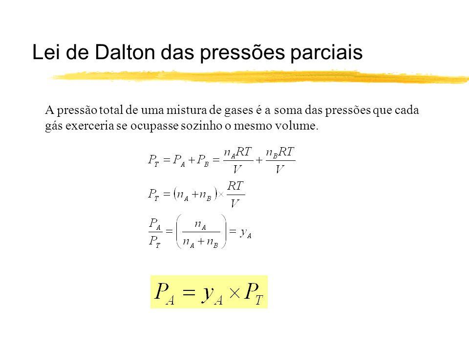Lei de Dalton das pressões parciais A pressão total de uma mistura de gases é a soma das pressões que cada gás exerceria se ocupasse sozinho o mesmo v