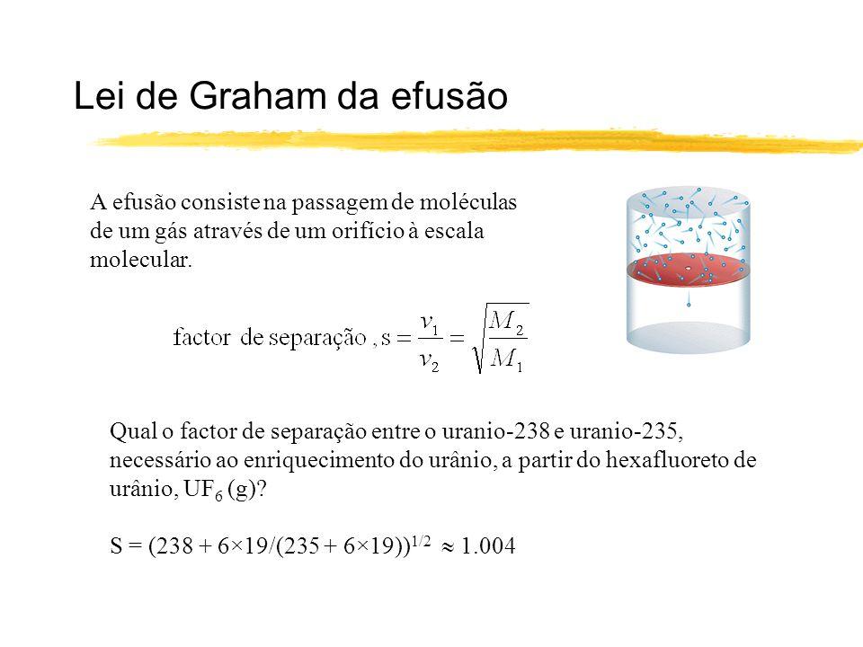 Lei de Graham da efusão A efusão consiste na passagem de moléculas de um gás através de um orifício à escala molecular. Qual o factor de separação ent