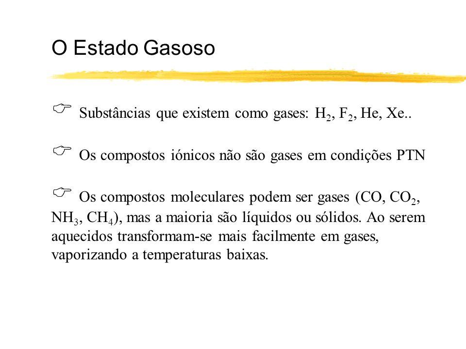 O Estado Gasoso Substâncias que existem como gases: H 2, F 2, He, Xe.. Os compostos iónicos não são gases em condições PTN Os compostos moleculares po