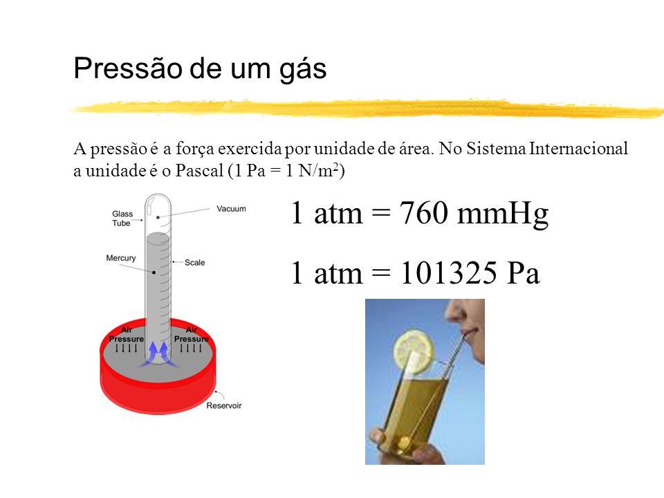 Pressão de um gás A pressão é a força exercida por unidade de área. No Sistema Internacional a unidade é o Pascal (1 Pa = 1 N/m 2 ) 1 atm = 760 mmHg 1