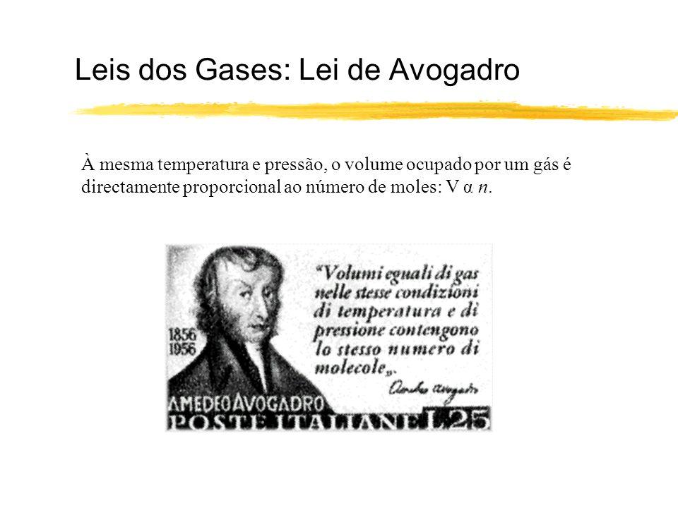 Leis dos Gases: Lei de Avogadro À mesma temperatura e pressão, o volume ocupado por um gás é directamente proporcional ao número de moles: V α n.