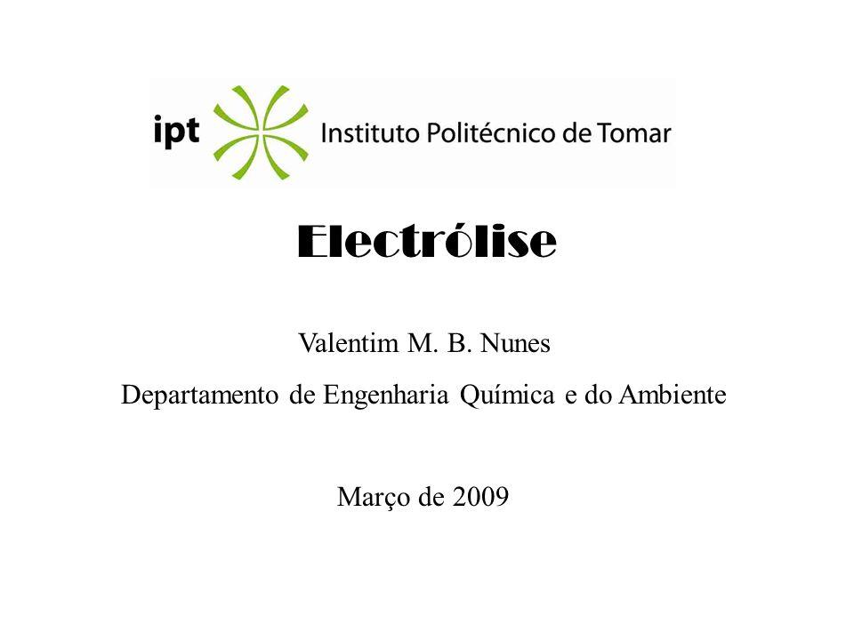 Electrólise Valentim M. B. Nunes Departamento de Engenharia Química e do Ambiente Março de 2009