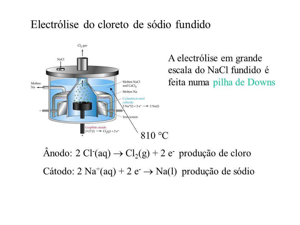 Electrólise do cloreto de sódio fundido A electrólise em grande escala do NaCl fundido é feita numa pilha de Downs Ânodo: 2 Cl - (aq) Cl 2 (g) + 2 e -