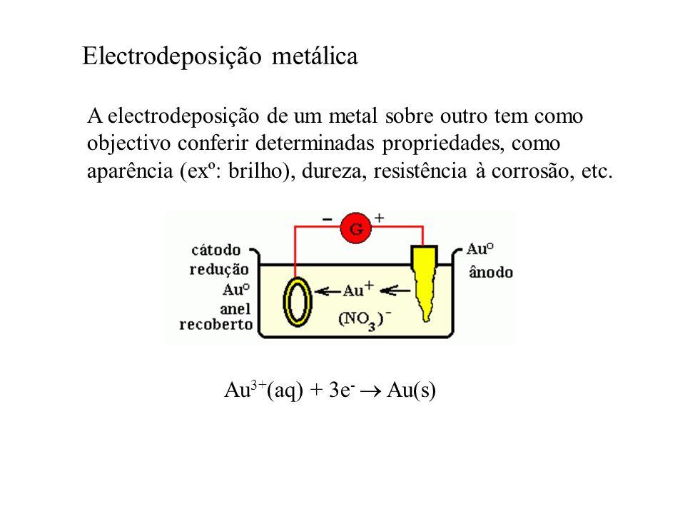 Electrodeposição metálica A electrodeposição de um metal sobre outro tem como objectivo conferir determinadas propriedades, como aparência (exº: brilh