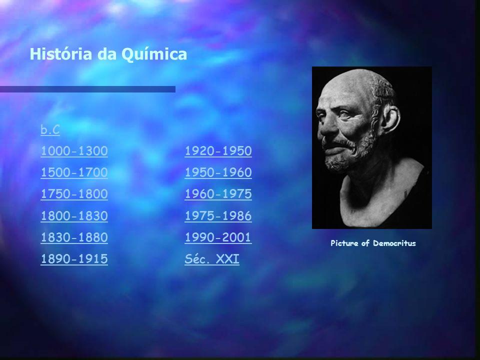 História da Química b.C 1000-13001920-1950 1500-17001950-1960 1750-18001960-1975 1800-18301975-1986 1830-18801990-2001 1890-1915Séc. XXI Picture of De