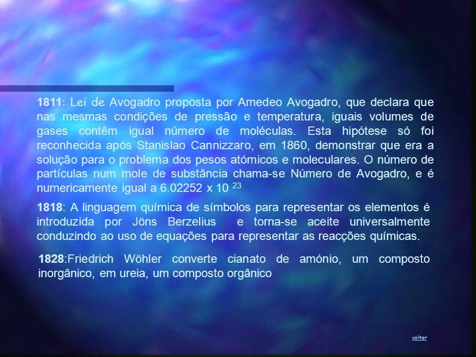 1811 : Lei de Avogadro proposta por Amedeo Avogadro, que declara que nas mesmas condições de pressão e temperatura, iguais volumes de gases contêm igu