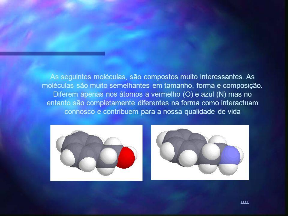As seguintes moléculas, são compostos muito interessantes. As moléculas são muito semelhantes em tamanho, forma e composição. Diferem apenas nos átomo