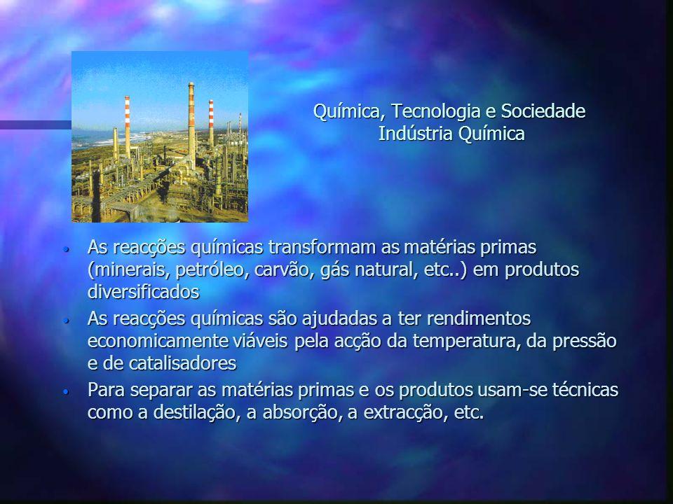 Química, Tecnologia e Sociedade Indústria Química As reacções químicas transformam as matérias primas (minerais, petróleo, carvão, gás natural, etc..)