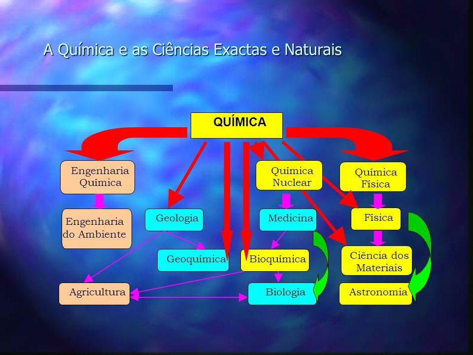 A Química e as Ciências Exactas e Naturais QUÍMICA Engenharia do Ambiente MedicinaGeologia Física Engenharia Química Física GeoquímicaBioquímica Agric
