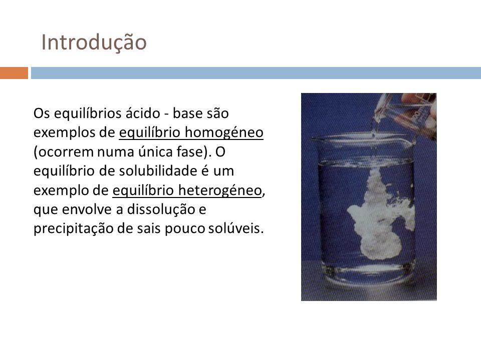 Introdução Os equilíbrios ácido - base são exemplos de equilíbrio homogéneo (ocorrem numa única fase). O equilíbrio de solubilidade é um exemplo de eq