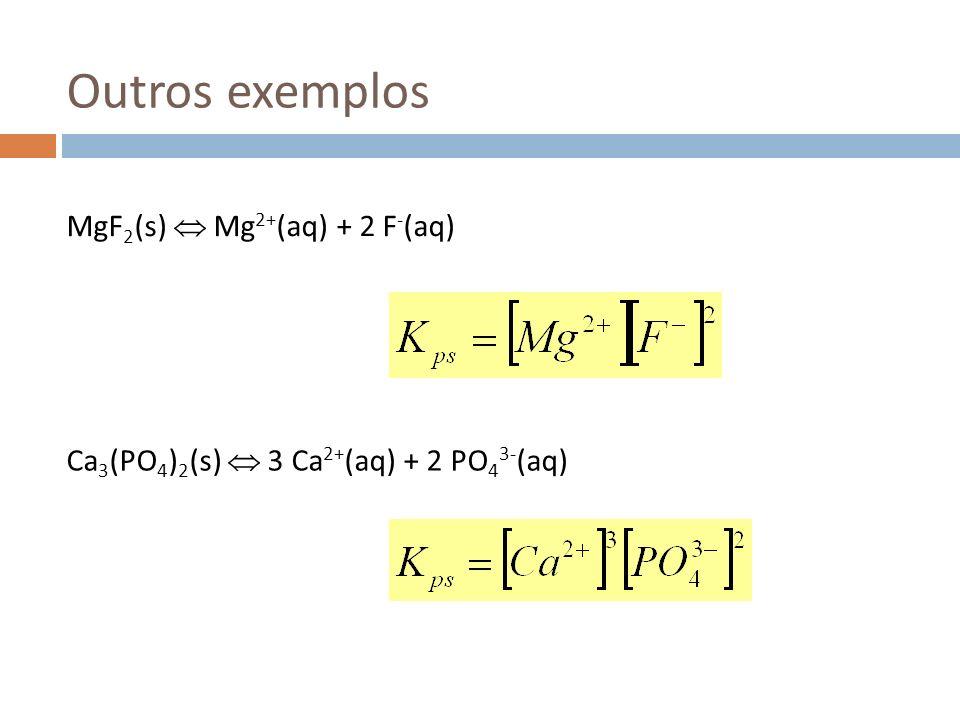 Exemplo Calcular a solubilidade do Mg(OH) 2 a 25 ºC se o pH do meio for 9.0 (solução tampão) A solubilidade molar será 0.12 M >> solubilidade em água pura.
