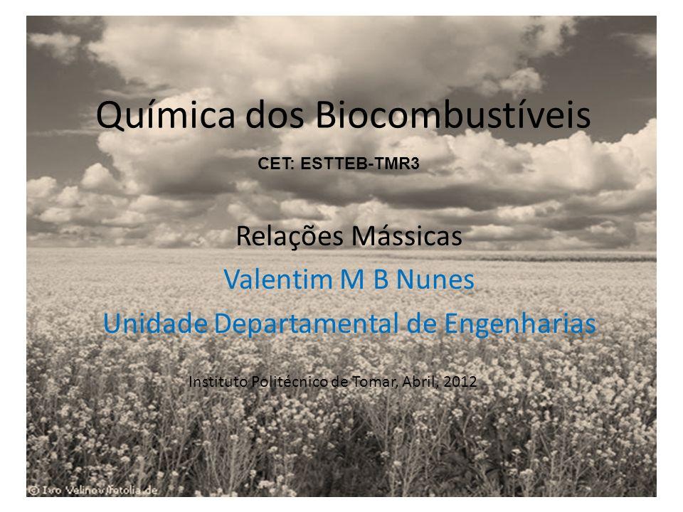 Química dos Biocombustíveis Relações Mássicas Valentim M B Nunes Unidade Departamental de Engenharias Instituto Politécnico de Tomar, Abril, 2012 CET: