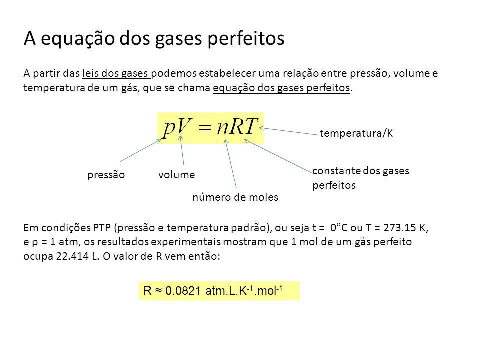 A equação dos gases perfeitos A partir das leis dos gases podemos estabelecer uma relação entre pressão, volume e temperatura de um gás, que se chama