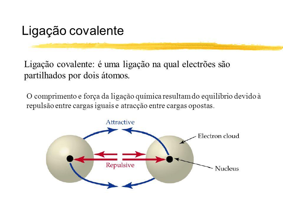 Ligação covalente Ligação covalente: é uma ligação na qual electrões são partilhados por dois átomos. O comprimento e força da ligação química resulta