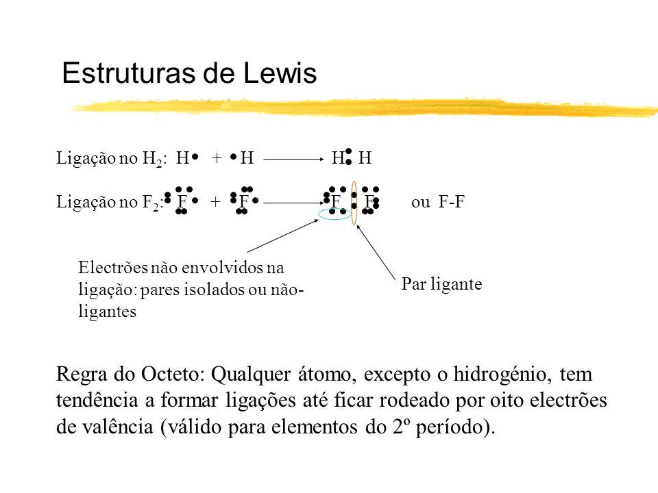 Estruturas de Lewis Ligação no H 2 : H + H H H Ligação no F 2 : F + F F F ou F-F Par ligante Electrões não envolvidos na ligação: pares isolados ou nã