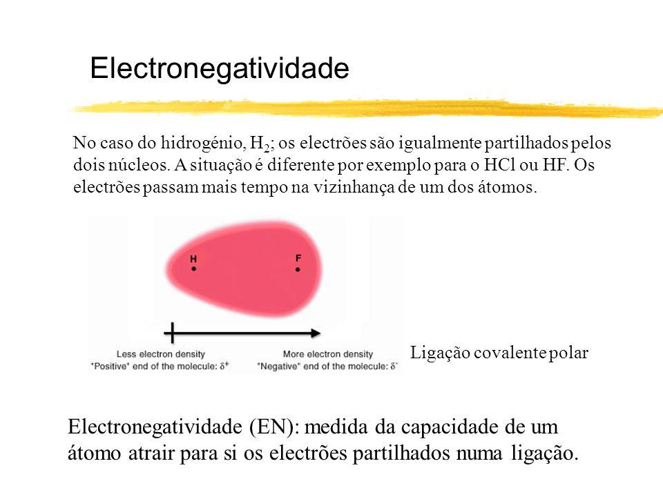 Electronegatividade No caso do hidrogénio, H 2 ; os electrões são igualmente partilhados pelos dois núcleos. A situação é diferente por exemplo para o
