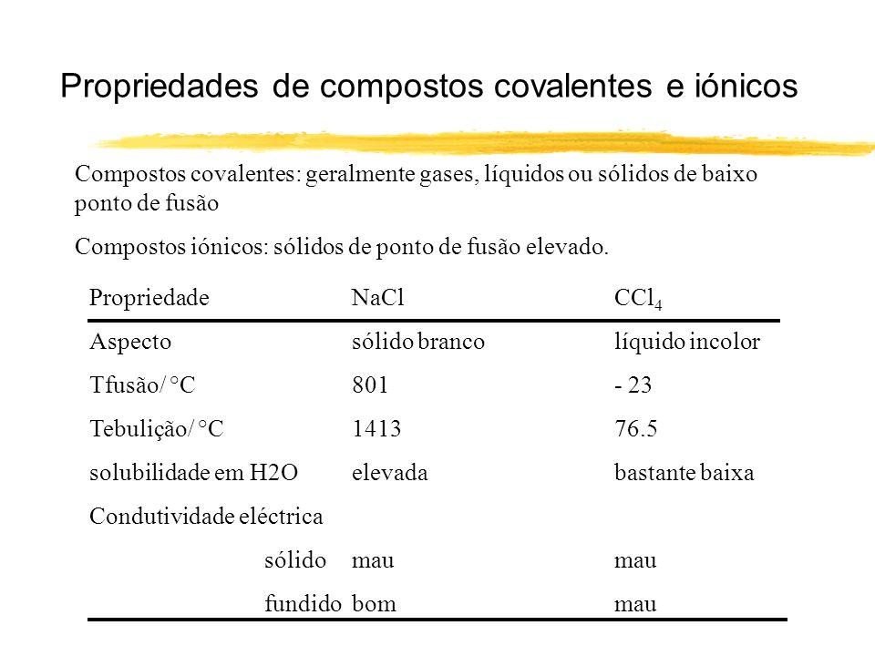 Propriedades de compostos covalentes e iónicos Compostos covalentes: geralmente gases, líquidos ou sólidos de baixo ponto de fusão Compostos iónicos:
