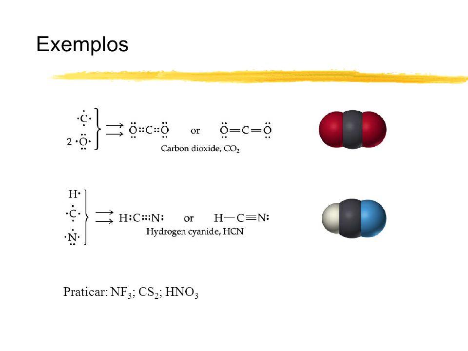 Exemplos Praticar: NF 3 ; CS 2 ; HNO 3