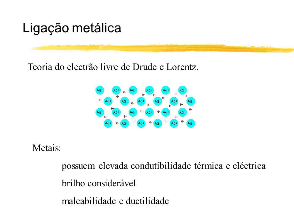 Ligação metálica Teoria do electrão livre de Drude e Lorentz. Metais: possuem elevada condutibilidade térmica e eléctrica brilho considerável maleabil