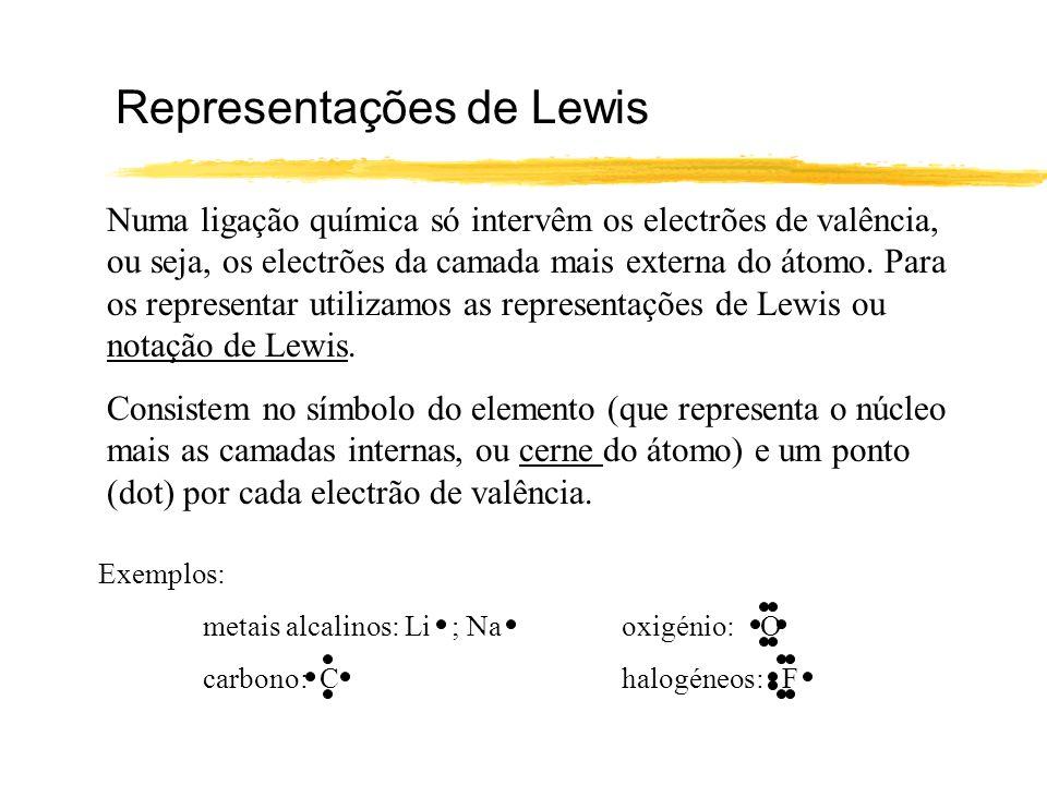 Representações de Lewis Numa ligação química só intervêm os electrões de valência, ou seja, os electrões da camada mais externa do átomo. Para os repr