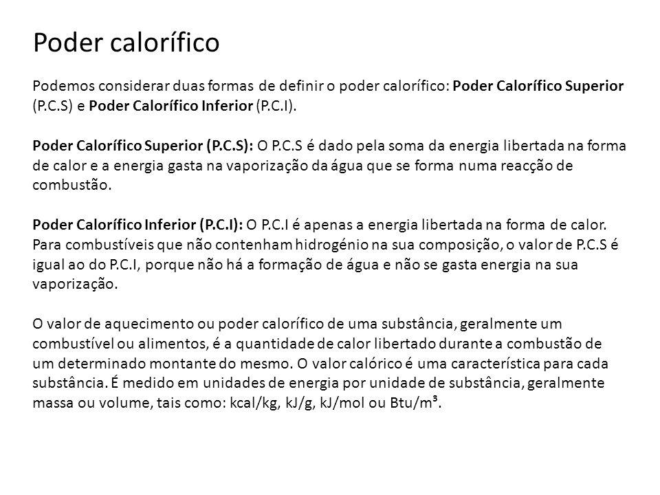 Podemos considerar duas formas de definir o poder calorífico: Poder Calorífico Superior (P.C.S) e Poder Calorífico Inferior (P.C.I). Poder Calorífico