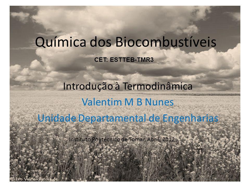 Química dos Biocombustíveis Introdução à Termodinâmica Valentim M B Nunes Unidade Departamental de Engenharias Instituto Politécnico de Tomar, Abril,
