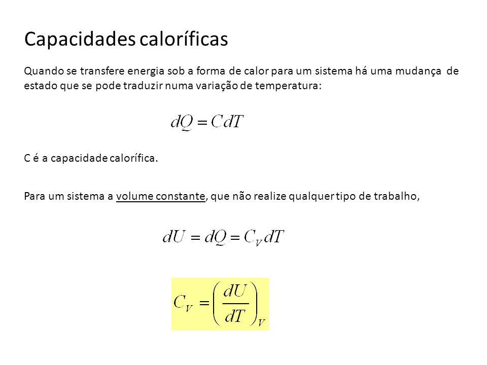 Capacidades caloríficas Quando se transfere energia sob a forma de calor para um sistema há uma mudança de estado que se pode traduzir numa variação d