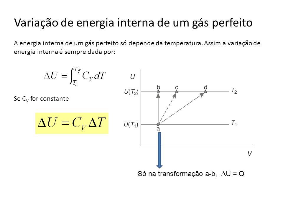 Variação de energia interna de um gás perfeito A energia interna de um gás perfeito só depende da temperatura. Assim a variação de energia interna é s