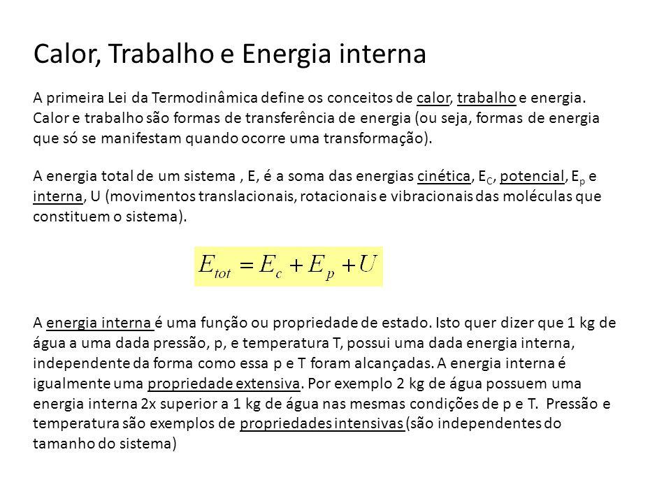 A Primeira Lei da Termodinâmica As variações de energia interna de um sistema resultam do calor e do trabalho trocados com o exterior (e também da massa no caso de sistemas abertos) Para sistemas fechados, em repouso ( E c =0) e sem alterações de posição no campo gravítico ( E p =0), a equação anterior reduz-se a: 1ª Lei da Termodinâmica