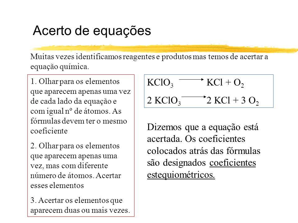 Acerto de equações (outro exemplo) NH 3 + O 2 NO + H 2 O 2 NH 3 + O 2 NO + 3 H 2 O 2 NH 3 + O 2 2 NO + 3 H 2 O 2 NH 3 + 5/2 O 2 2 NO + 3 H 2 O 4 NH 3 + 5 O 2 4 NO + 6 H 2 O