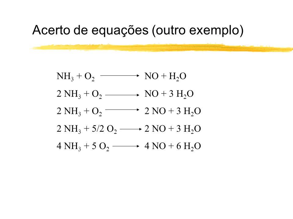 Estequiometria Uma reacção química acertada mostra a estequiometria da reacção: relação entre as quantidades, em número de moles, de reagentes e produtos numa dada reacção química.