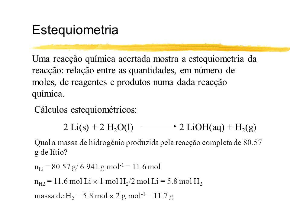 Cálculos estequiométricos Massa de reagente(s) Volume de reagente(s) nº de moles de reagente Estequiometria nº de moles de produto Massa de produto(s) Volume de produto(s)