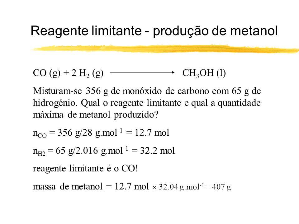 Rendimento das reacções A conversão máxima de uma reacção é a quantidade de produto que se espera obter pela reacção acertada, quando todo o reagente limitante foi consumido.