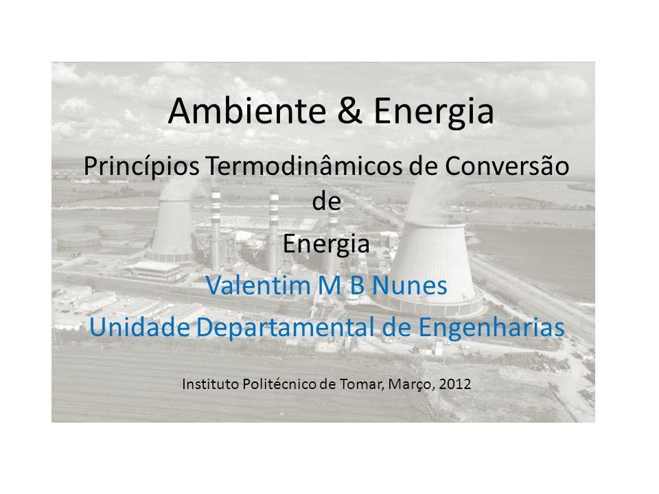 Ambiente & Energia Princípios Termodinâmicos de Conversão de Energia Valentim M B Nunes Unidade Departamental de Engenharias Instituto Politécnico de