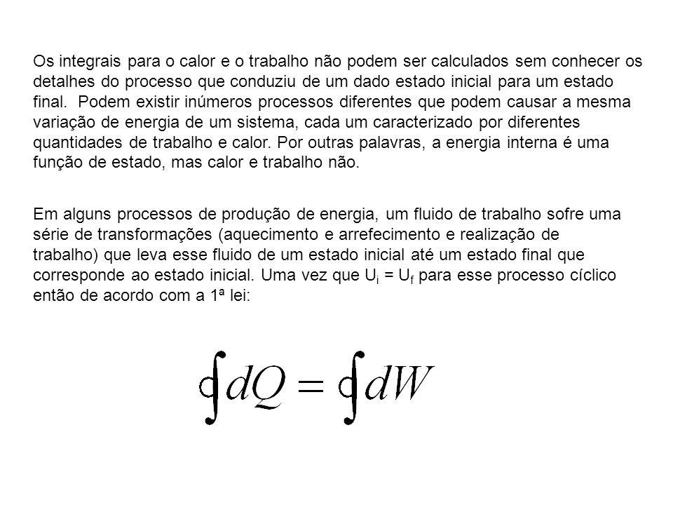 Os integrais para o calor e o trabalho não podem ser calculados sem conhecer os detalhes do processo que conduziu de um dado estado inicial para um es