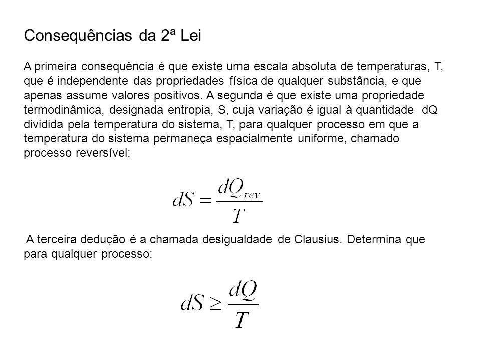 A primeira consequência é que existe uma escala absoluta de temperaturas, T, que é independente das propriedades física de qualquer substância, e que