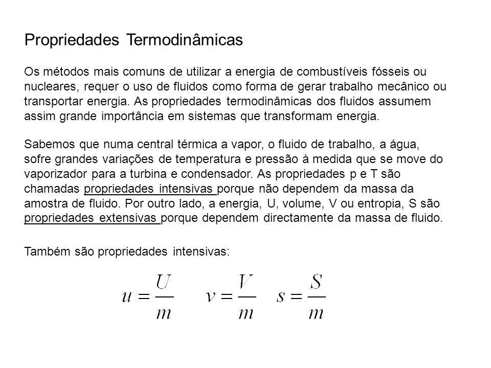Propriedades Termodinâmicas Os métodos mais comuns de utilizar a energia de combustíveis fósseis ou nucleares, requer o uso de fluidos como forma de g