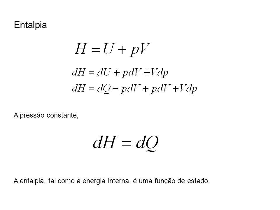 Entalpia A pressão constante, A entalpia, tal como a energia interna, é uma função de estado.