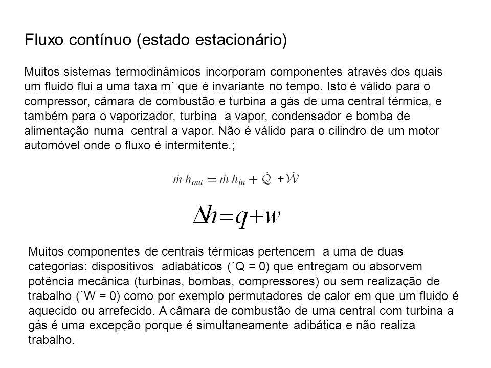 Fluxo contínuo (estado estacionário) Muitos sistemas termodinâmicos incorporam componentes através dos quais um fluido flui a uma taxa m˙ que é invari