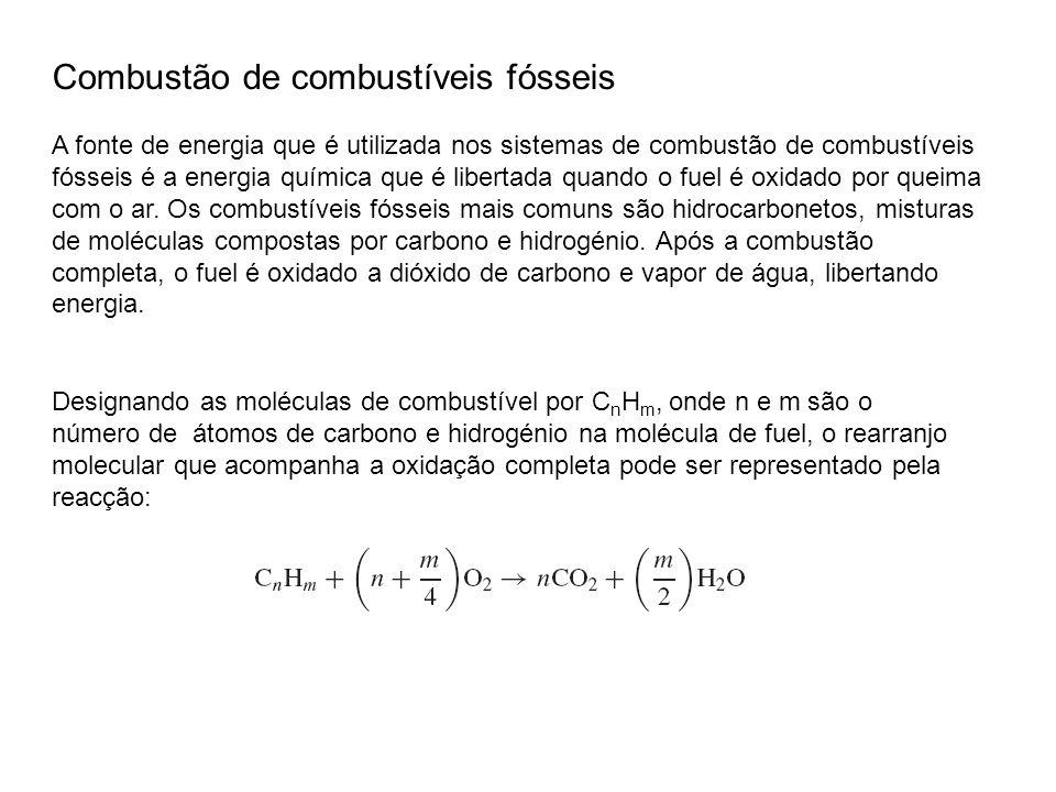 Combustão de combustíveis fósseis A fonte de energia que é utilizada nos sistemas de combustão de combustíveis fósseis é a energia química que é liber