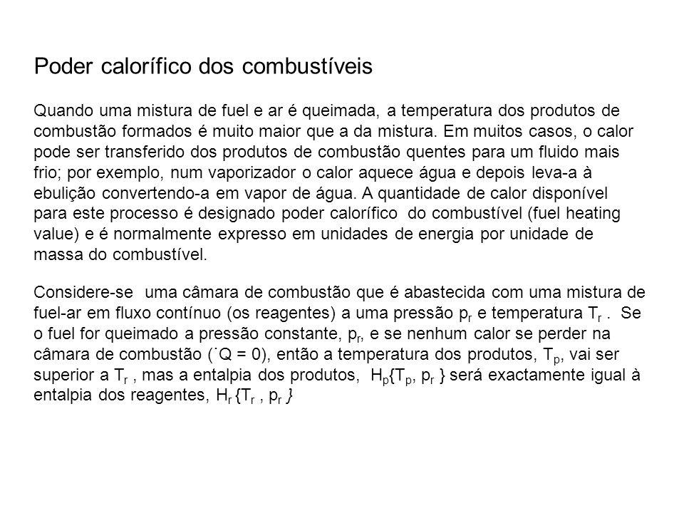 Poder calorífico dos combustíveis Quando uma mistura de fuel e ar é queimada, a temperatura dos produtos de combustão formados é muito maior que a da