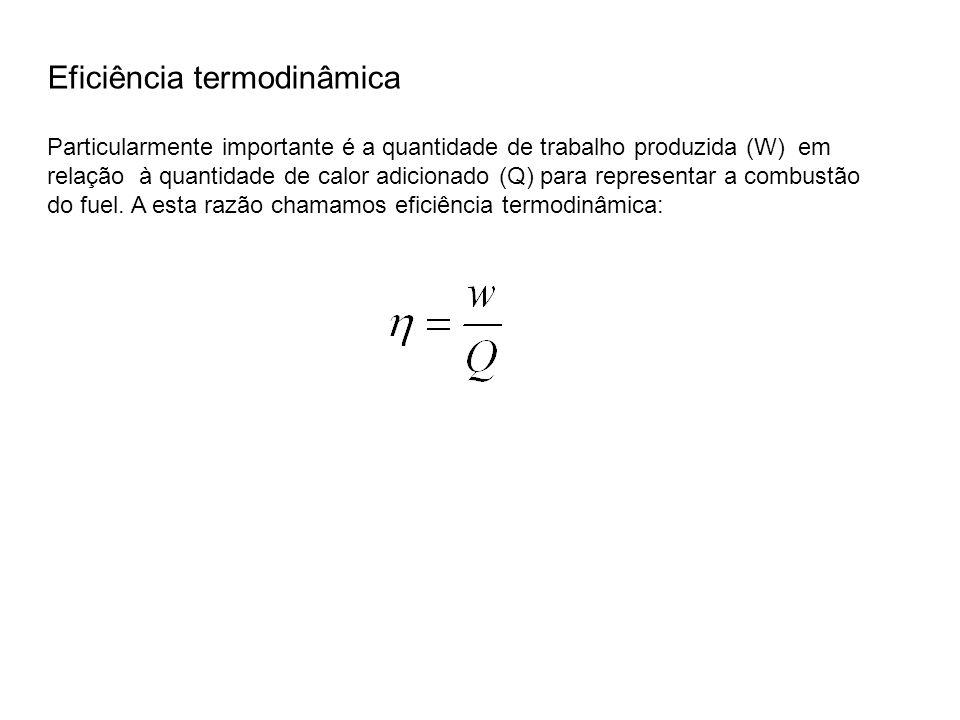 Particularmente importante é a quantidade de trabalho produzida (W) em relação à quantidade de calor adicionado (Q) para representar a combustão do fu