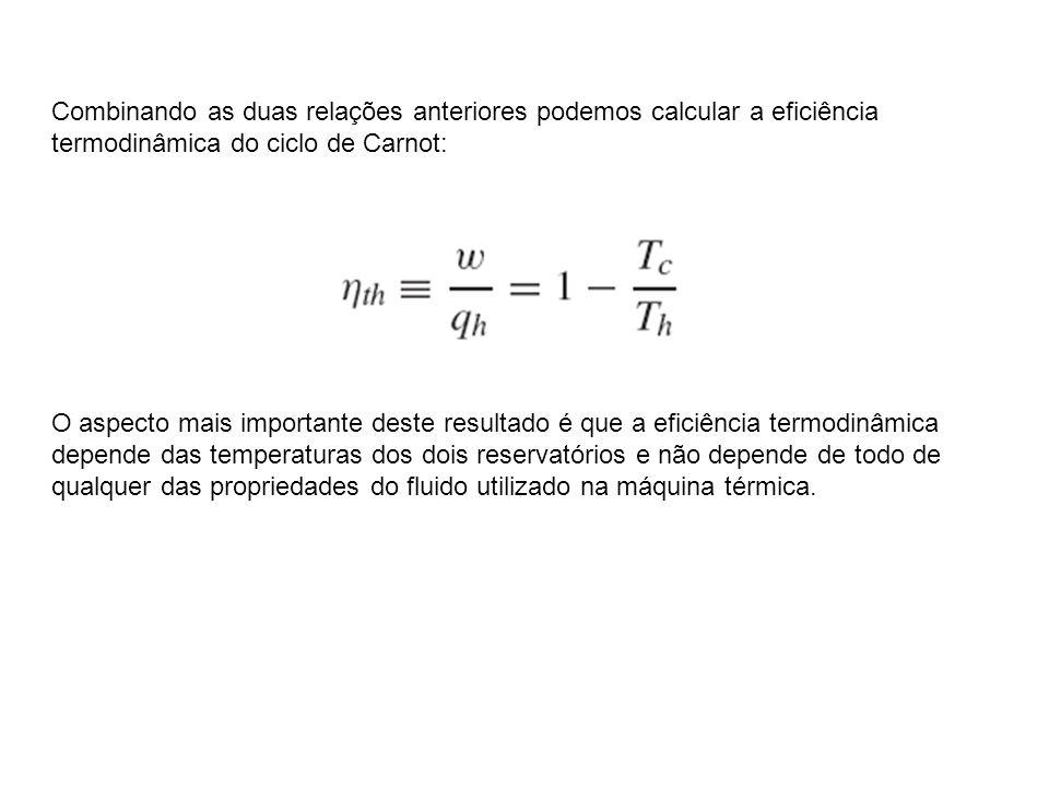 Combinando as duas relações anteriores podemos calcular a eficiência termodinâmica do ciclo de Carnot: O aspecto mais importante deste resultado é que