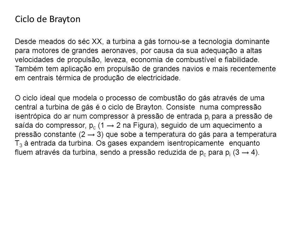 Ciclo de Brayton Desde meados do séc XX, a turbina a gás tornou-se a tecnologia dominante para motores de grandes aeronaves, por causa da sua adequaçã