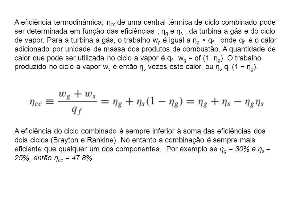 A eficiência termodinâmica, η cc de uma central térmica de ciclo combinado pode ser determinada em função das eficiências, η g e η s, da turbina a gás