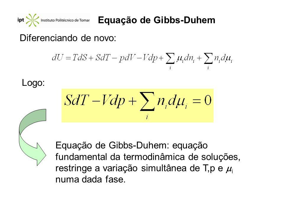 Diferenciando de novo: Logo: Equação de Gibbs-Duhem: equação fundamental da termodinâmica de soluções, restringe a variação simultânea de T,p e i numa
