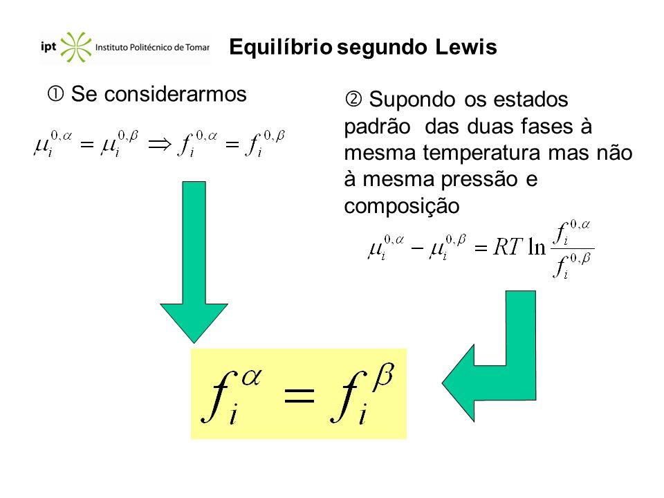 Se considerarmos Supondo os estados padrão das duas fases à mesma temperatura mas não à mesma pressão e composição Equilíbrio segundo Lewis